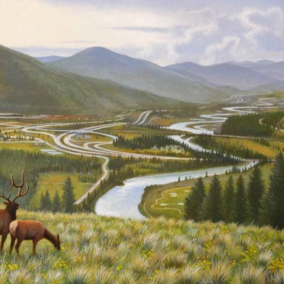 """""""View from Elk Ridge"""" is a 2011 acrylic painting on panel by Monte Dolack."""