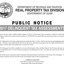 Guam Revenue and Taxation's 2017 delinquent tax assessments notice