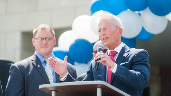 New Jersey State Senator Jeff Van Drew speaks during the ribbon-cutting ceremony at the opening of Cumberland County Technical Education Center on Thursday, September 8.