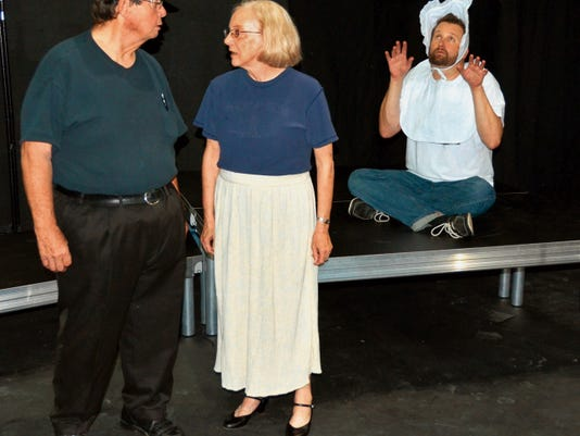 "Appearing in ""Bob: A Life in Five Acts,"" opening today at the Black Box Theatre, are, from left, PJ Waggaman, Ilene Steele and starring in the title role, Bobby Senecal"