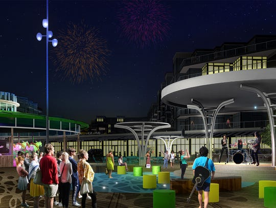 A design rendering of the carousel at Pier Village
