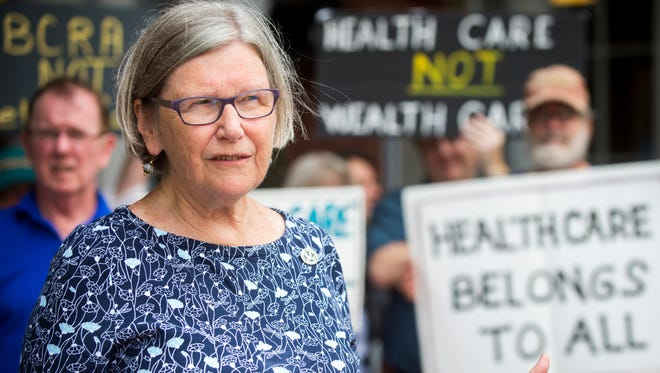 Sister Simone Campbell, Executive Director of NETWORK Lobby for Catholic Social Justice and leader of Nuns on the Bus, call on Sen. Lamar Alexander and Sen. Bob Corker to vote no on the Republican health care bill at an event held outside the federal courthouse in downtown Knoxville on Monday, July 17, 2017.
