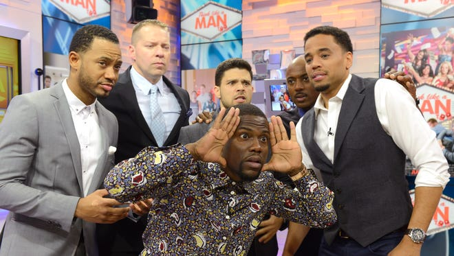 """""""Think Like A Man Too"""" stars (from left) Terrence Jenkins, Gary Owen, Kevin Hart, Jerry  Ferrara, Romany Malco and Michael Ealy on ABC's """"Good Morning America"""" Wednesday."""