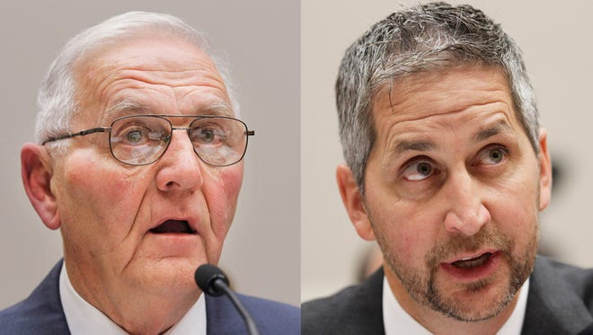 FILE - This Sept. 22, 2010 combination of file photos shows Quality Egg LLC owner Austin ?Jack? DeCoster, left, and its chief operating officer, Peter DeCoster on Capitol Hill in Washington. According to a plea agreement released Monday, June 2, 2014 both DeDosters are expected to plead guilty to introducing adulterated food into interstate commerce. The deal calls for the company to pay $6.8 million and each of the DeCosters to pay $100,000 in fines for selling old eggs with false labels and the tainted products that caused a nationwide salmonella outbreak in 2010. (AP Photo/Manuel Balce Ceneta, file)