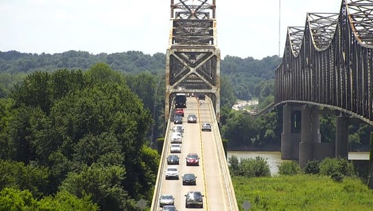 Screen capture of drone footage of traffic on the northbound