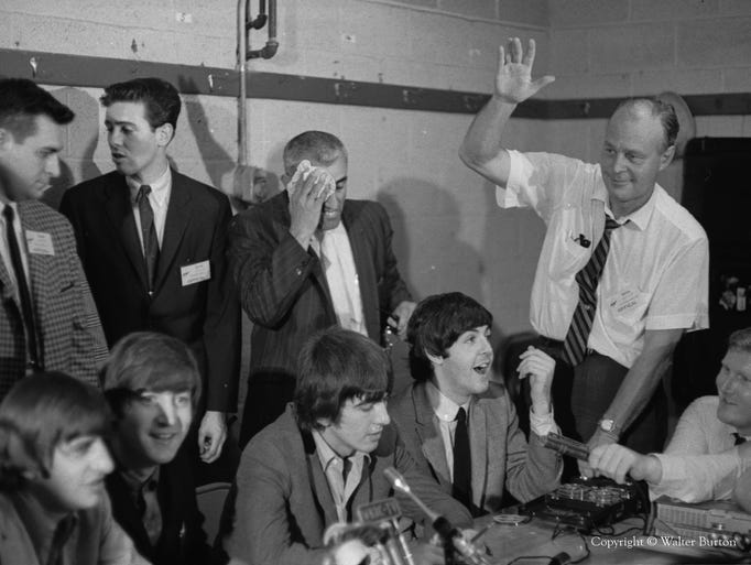 A shot from the Beatles press conference at Cincinnati Gardens.