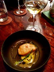Pan-cooked tilefish in green garlic oyster butter with Alsatian pinot gris at The Rabbit Hole, inside Henley.