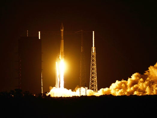 A United Launch Alliance Atlas V lifts off from Complex 41 at Cape Canaveral Air Force Station on Friday, Aug. 1, 2014. The rocket is carrying a GPS satellite.