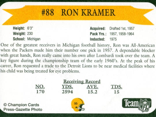 Packers Hall of Fame player Ron Kramer