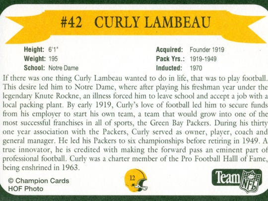 Packers Hall of Fame player Curl Lambeau