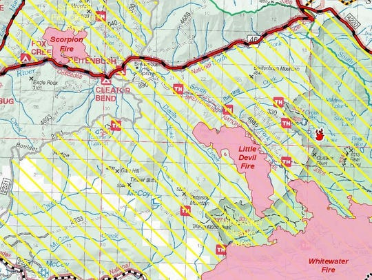 The map showing the various wildfires around the Breitenbush