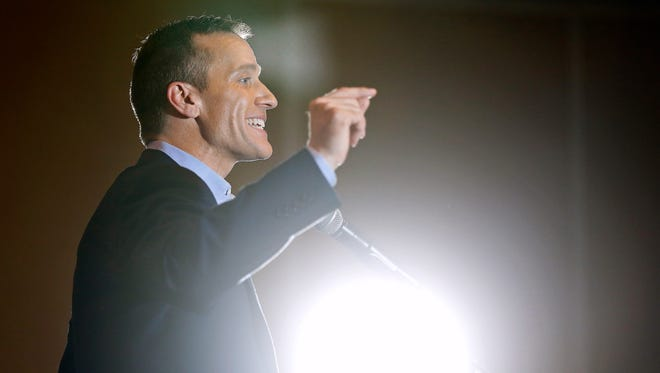 Gov. Eric Greitens talks to a crowd attending a campaign event held at the University Plaza Hotel in Springfield, Mo. on Oct. 6, 2016, in support of his bid for the Missouri governor's office.
