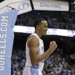 North Carolina's Brice Johnson reacts during the first half of an NCAA college basketball game against Wake Forest in Chapel Hill on Wednesday.