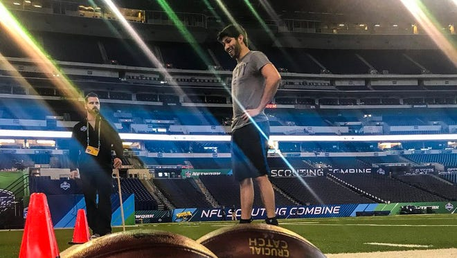 Juncos Racing driver Kyle Kaiser fulfilled a lifelong dream this February by running drills at the NFL Scouting combine at Lucas Oil Stadium in Indianapolis.