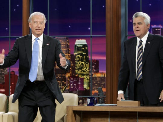 """Democratic vice-presidential nominee Joe Biden (left) is shown as he stopped by """"The Tonight Show with Jay Leno"""" on Oct. 16, 2008."""