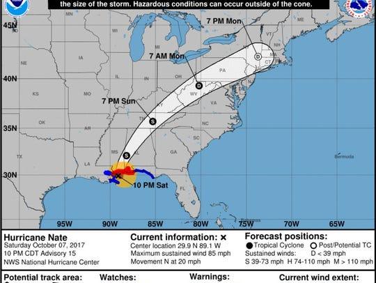 Hurricane Nate at 10 p.m.