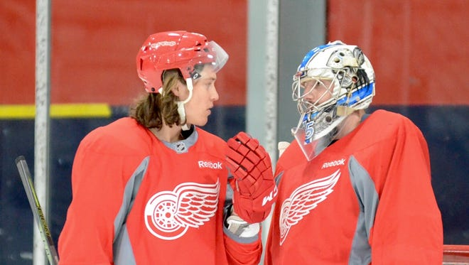 Tyler Bertuzzi, left, and Matej Machovsky during the Red Wings' developmental camp for prospects July 9, 2016, in Traverse City.