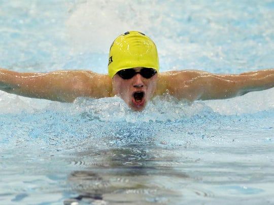 Sheboygan North's Alex Pfeifer swims the 100 yard butterfly Thursday January 28, 2016 at South.