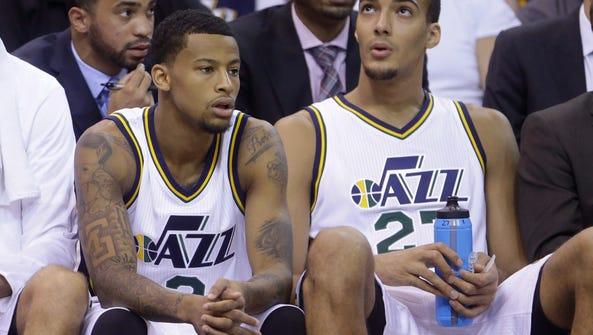 Utah Jazz point guard Trey Burke looks on against the