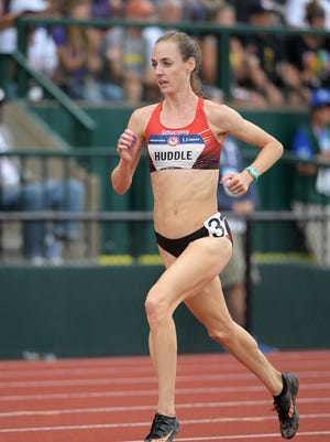 Molly Huddle competes in the women's 5,000 meters during the preliminary heat at the U.S. Olympic Trials at Hayward Field on July 7.