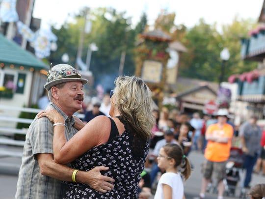Randy Shierman of Eagle Creek and Mary McTeigue of Gresham dance at the 50th celebration of the Mount Angel Oktoberfest on Sunday, Sept. 20, 2015, in Mount Angel, Ore.