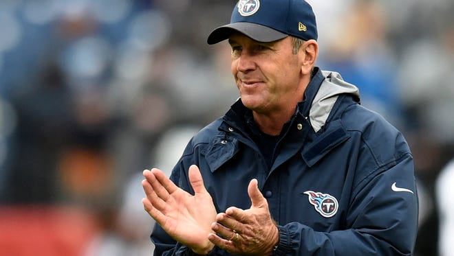 Titans interim head coach Mike Mularkey before the game at Nissan Stadium Sunday Nov. 29, 2015, in Nashville, Tenn.