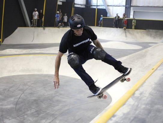 Tony Hawk skateboards at  Woodward Tahoe in 2012.
