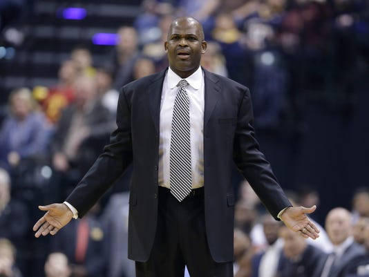 Indiana Pacers coach Nate McMillan reacts to a call during the first half of an NBA basketball game against the Boston Celtics in Indianapolis, Thursday, Dec. 22, 2016. (AP Photo/Michael Conroy)