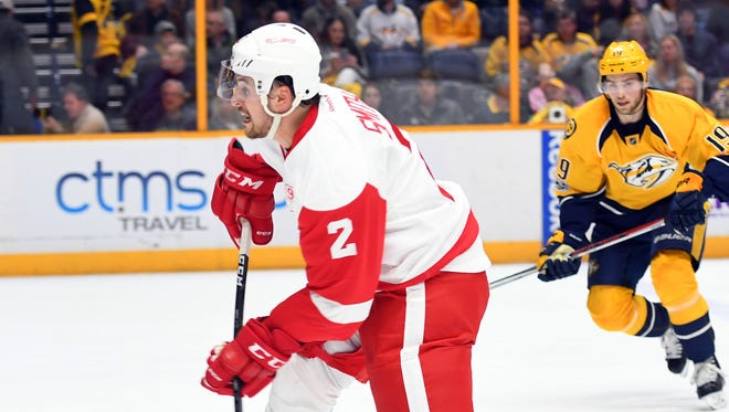 Red Wings defenseman Brendan Smith (2) takes a shot during the second period of the Wings' 1-0 win Saturday in Nashville, Tenn.