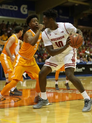 Nigel Hayes makes a move on the block Monday afternoon. Hayes had 17 points and 10 rebounds for the Badgers.