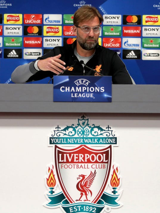 Liverpool soccer team manager Jurgen Klopp reacts during a media conference at Anfield in Liverpool, England, Tuesday April 3, 2018. Manchester City and Liverpool will play the first leg of their Champions League soccer quarter final on Wednesday. (Richard Sellers/PA via AP)