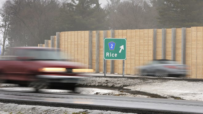 Traffic flows on U.S. Highway 10 in Rice in this 2014 file photo.