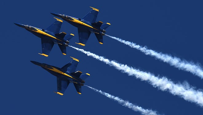 The Blue Angels perform at the National Championship Air Races at the Reno Stead Airport on Friday Sept. 26, 2016.