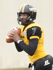 Southern Miss quarterback Kwadra Griggs ran for a touchdown and hit Korey Robertson for the Golden Eagles other score against Florida State.