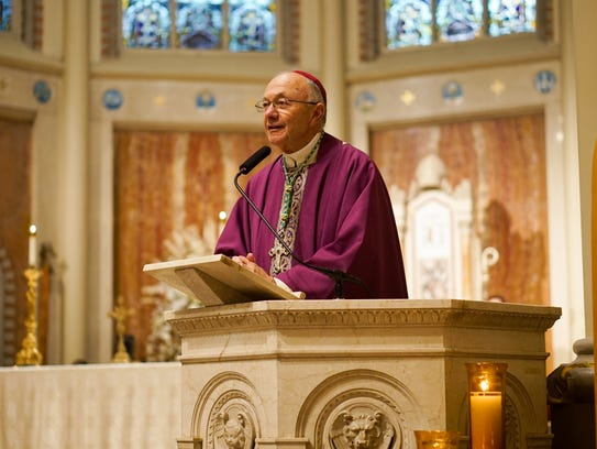 Diocese of Lafayette Bishop Douglas Deshotel leads the Mass of Burial for Unclaimed Bodies at Cathedral of St. John the Evangelist in Lafayette on Thursday.