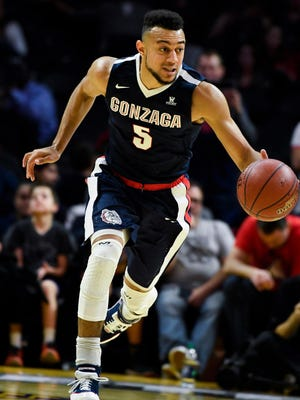 Gonzaga guard Nigel Williams-Goss pushes the ball up the court during a victory against Arizona earlier this season.