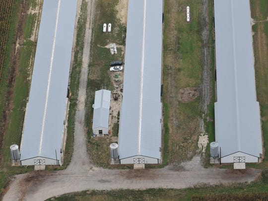 An aerial view of a chicken farm in Wicomico County
