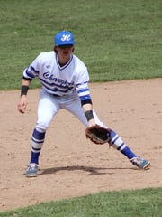 Jake Hoover prepares for a pitch during Hillsdale's