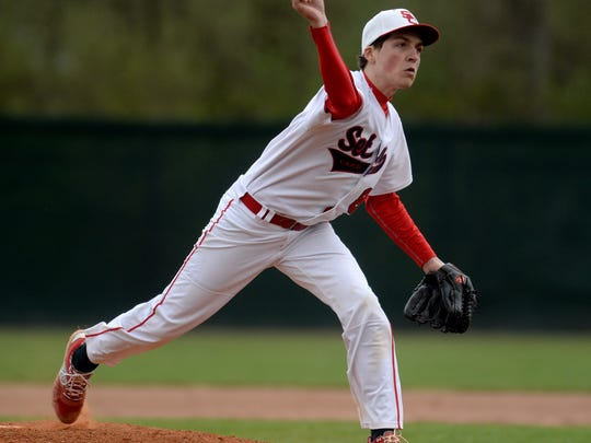 Seton's Colten Pipenger pitches to Centerville during