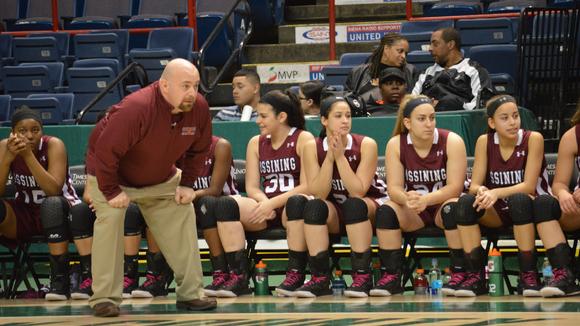 Ossining girls basketball head coach Dan Ricci looks