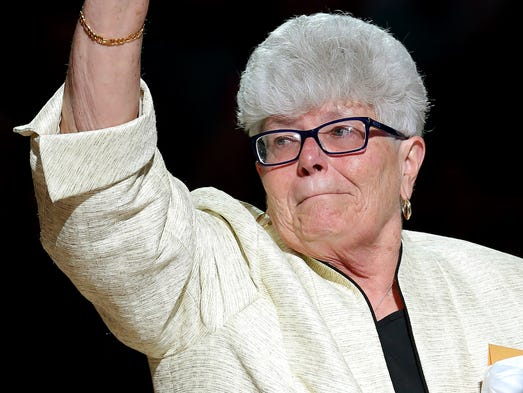 Indiana Fever head coach Lin Dunn reacts to having a banner with her name raised to the rafters of Bankers Life Fieldhouse before the game against the Chicago Sky inside Bankers Life Fieldhouse, on Saturday, August 16, 2014, in Indianapolis.