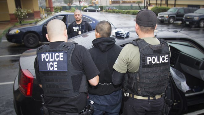 Immigration and Customs Enforcement arrest in Los Angeles on Feb. 7, 2017.