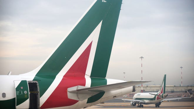 An Alitalia jet is seen at Rome's Fiumicino Airport on Jan. 9, 2014.