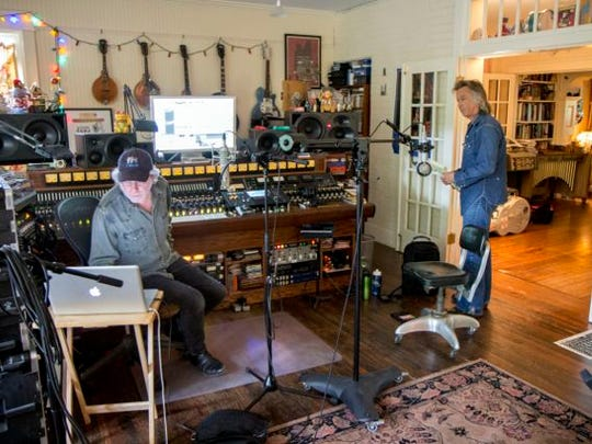 Jim Lauderdale, right, is pictured with longtime friend and collaborator Buddy Miller in Miller's home studio.