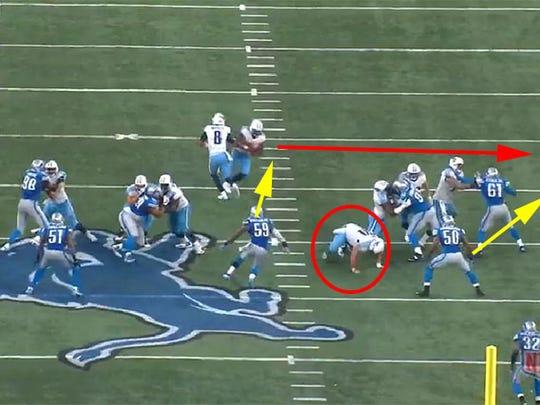 Titans center Ben Jones slips, forcing the run outside.