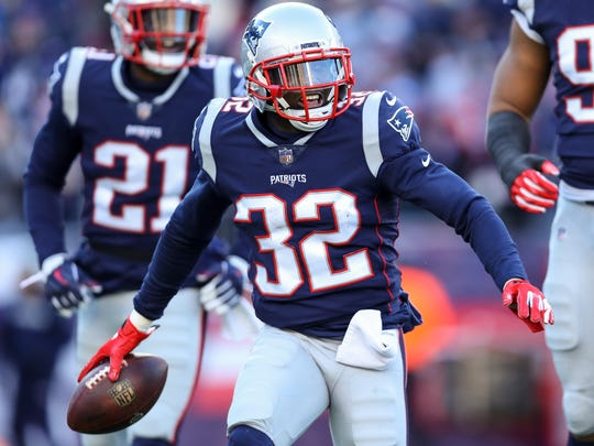 FOXBOROUGH, MASSACHUSETTS - DECEMBER 30: Devin McCourty #32 of the New England Patriots reacts after recovering a fumble during the second quarter of a game against the New York Jets at Gillette Stadium on December 30, 2018 in Foxborough, Massachusetts. (Photo by Maddie Meyer/Getty Images)