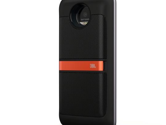 Moto Z phone with the  Moto Mod JBL speaker.
