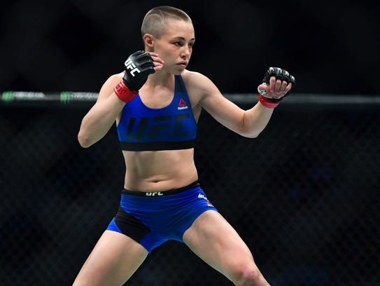 Rose Namajunas fights Michelle Waterson during UFC