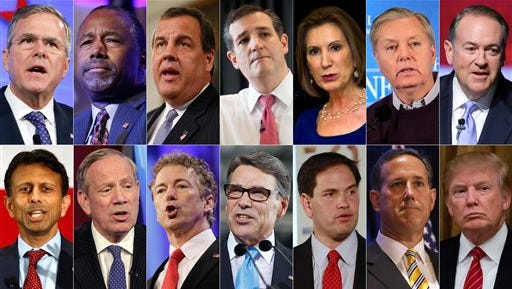 This combo made from file photos shows the 2016 Republican presidential candidates who have officially declared their candidacy as of Sunday, July 12, 2015. Top row, from left, Former Florida Gov. Jeb Bush, retired neurosurgeon Ben Carson, New Jersey Gov. Chris Christie, Texas U.S. Sen. Ted Cruz, former Hewlett-Packard CEO Carly Fiorina, South Carolina U.S. Sen. Lindsey Graham, and former Arkansas Gov. Mike Huckabee. Bottom row, from left, Louisiana Gov. Bobby Jindal, former New York Gov. George Pataki, Kentucky U.S. Sen. Rand Paul, former Texas Gov. Rick Perry, Florida U.S. Sen. Marco Rubio, former U.S. Sen. Rick Santorum, and real estate mogul Donald Trump.