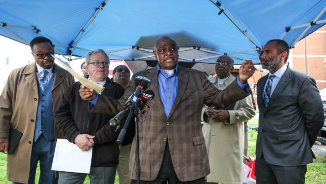 Jerry L. Stephenson, member of the Kentucky Pastors in Action Coalition group, spoke in favor of the state taking over JCPS during a press conference outside of JCPS headquarters Tuesday morning. April 24, 2018